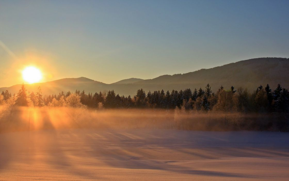 mist fog nature landscapes fields winter snow trees forest autumn fall hills sunrise sunset morning dawn wallpaper
