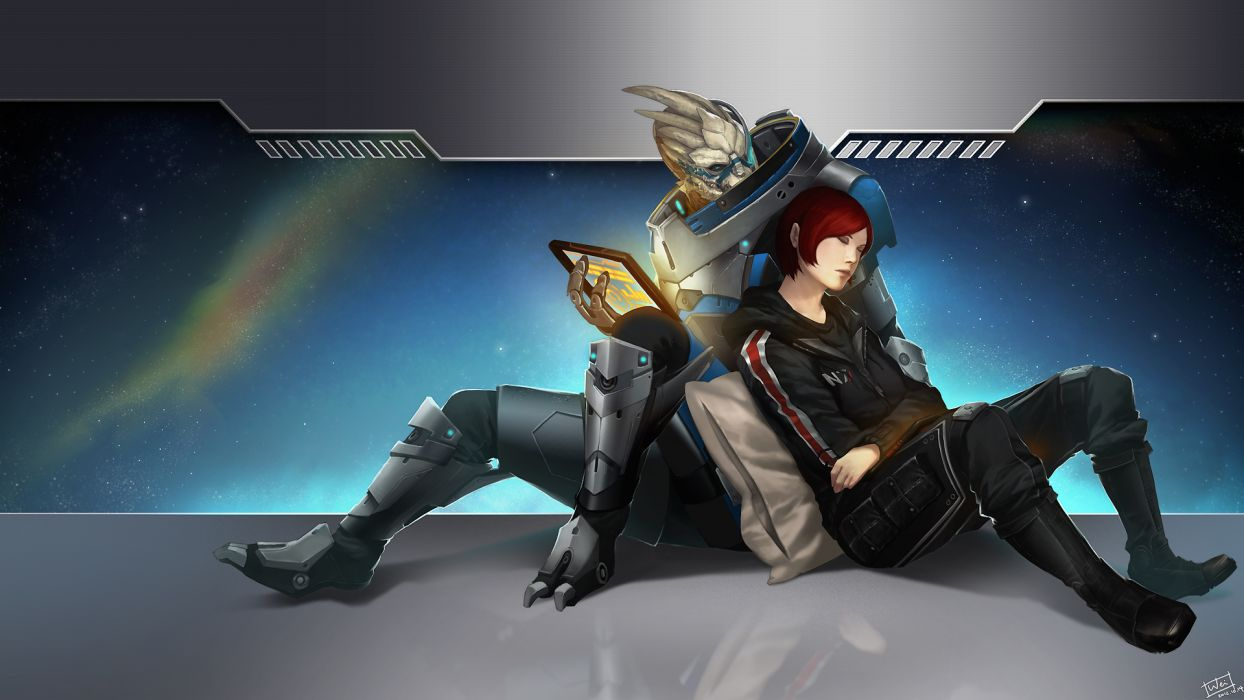 Mass Effect shepard Garrus sci-fi aliens futuristc wallpaper