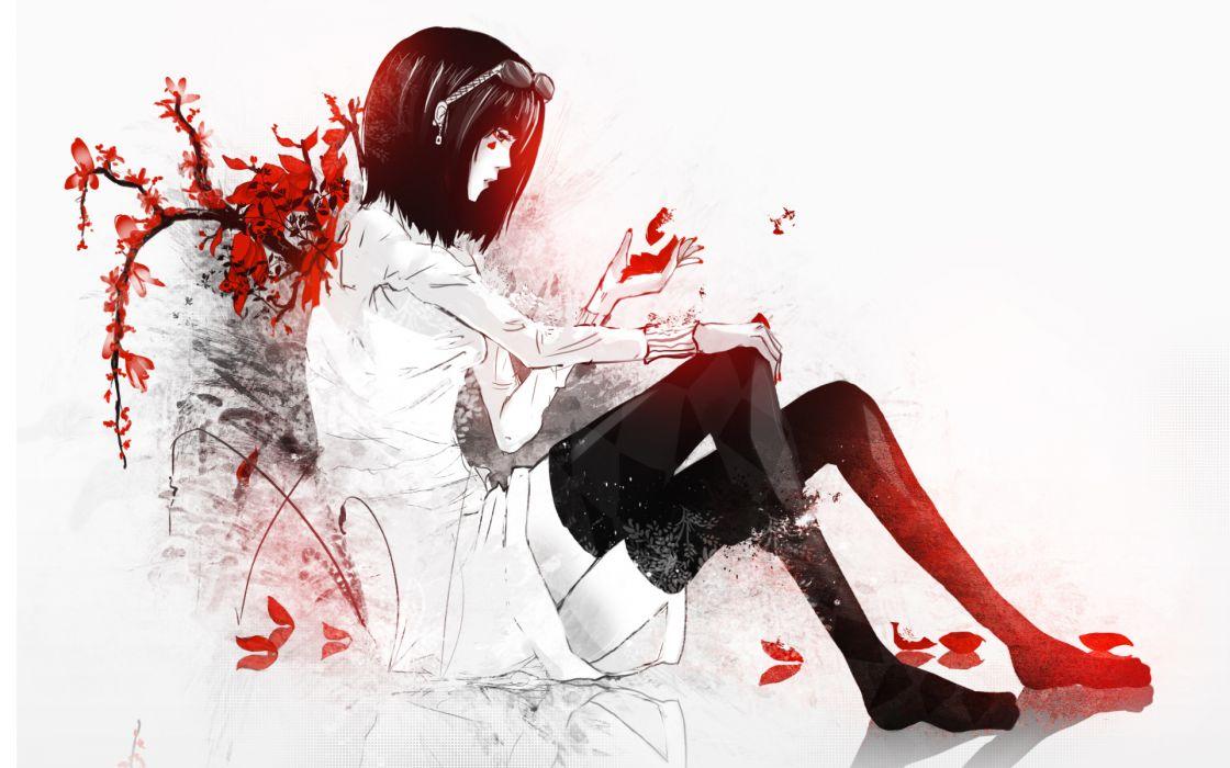 monochrome anime girl females art vector leaves autumn fall mood legs stockings leggings wallpaper