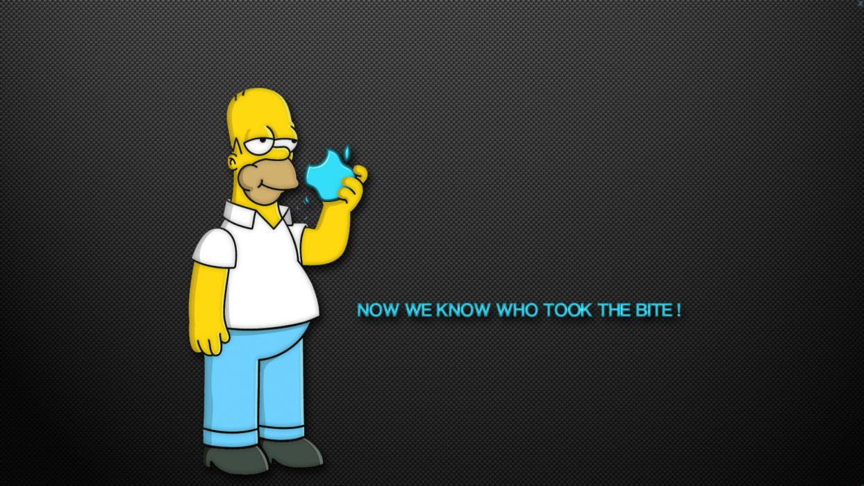 The Simpsons Homer Apple humor funny text quotes cartoon wallpaper