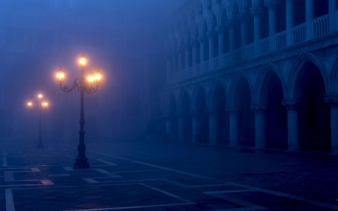 Venice Italy Piazza San Marco night fog lamp post lights bulbs architecture buildings evening wallpaper