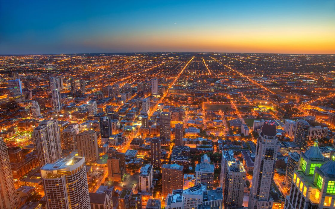 Chicago world cities architecture buildings skyscrapes hdr lights roads cityscape skyline sky sunset sunrise wallpaper
