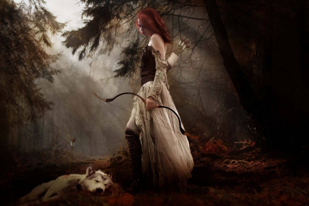 fantasy cg digital art manipulation mood women females girls redheads babes gothic weapons bow arcger gown nature trees forest woods fog animals wolf wolves wallpaper