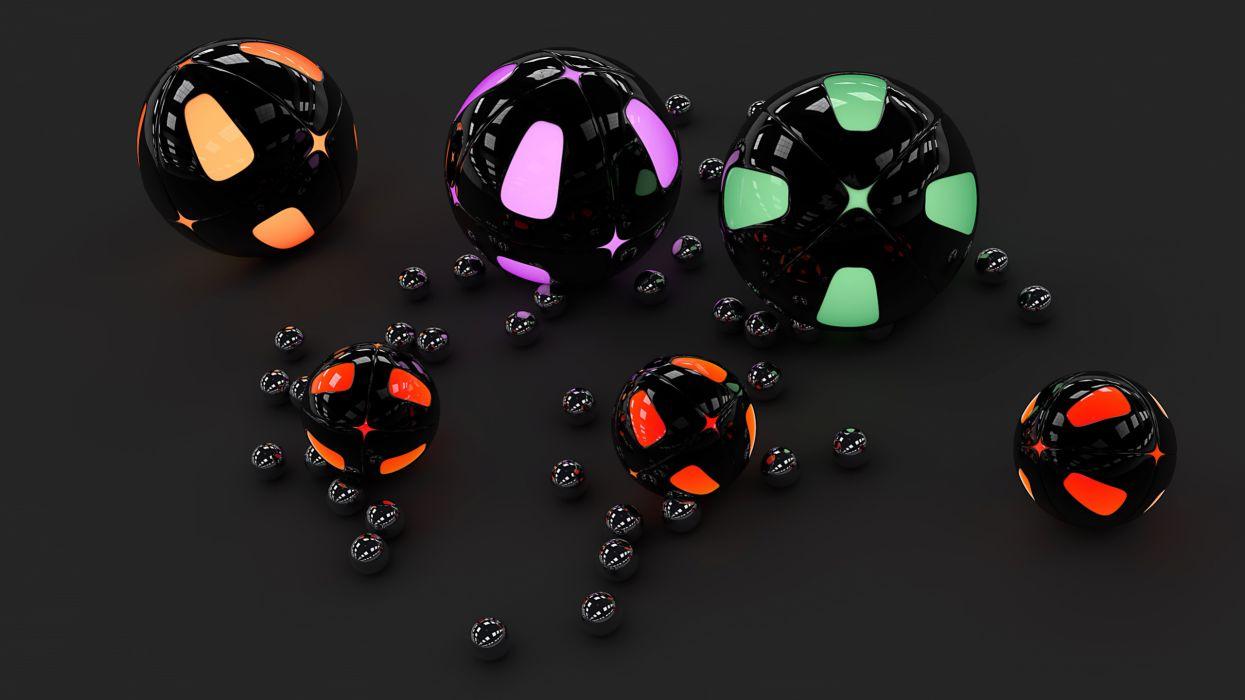 3d cg digital art ball globe sphere color chrome reflection metal wallpaper
