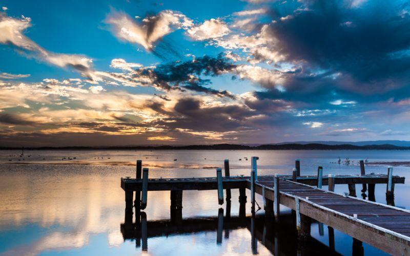 architecture dock pier wood lakes landscapes sunset sunrise sky clouds birds bay wallpaper