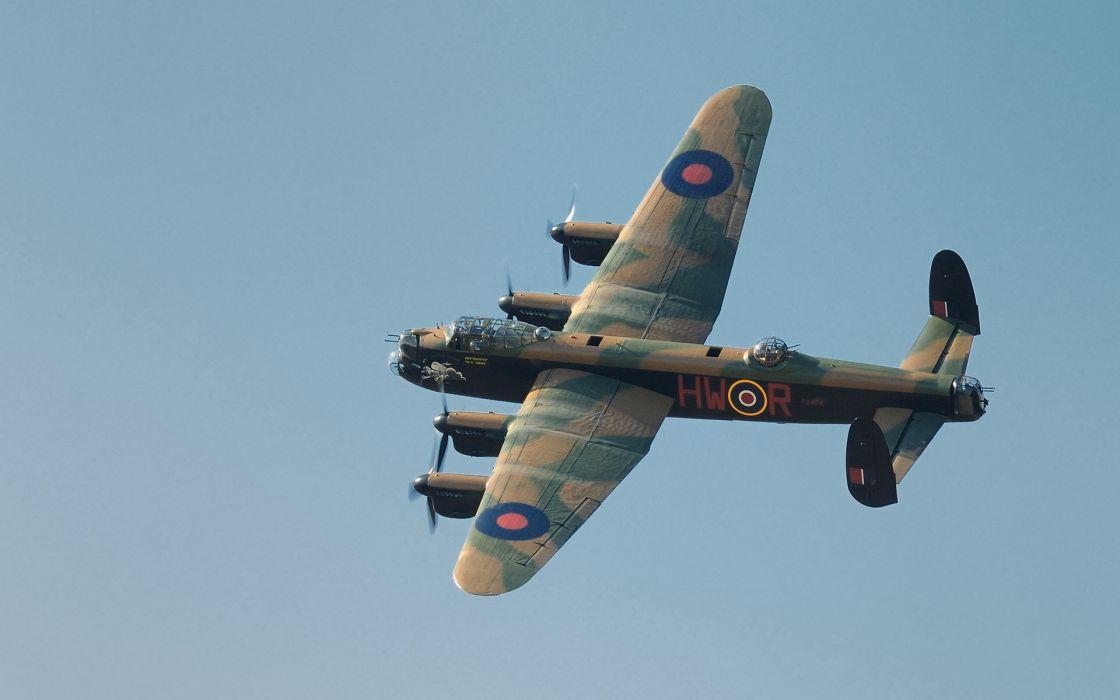 Avro Lancaster military bomber flight weapons guns retro classic airplane sky wallpaper