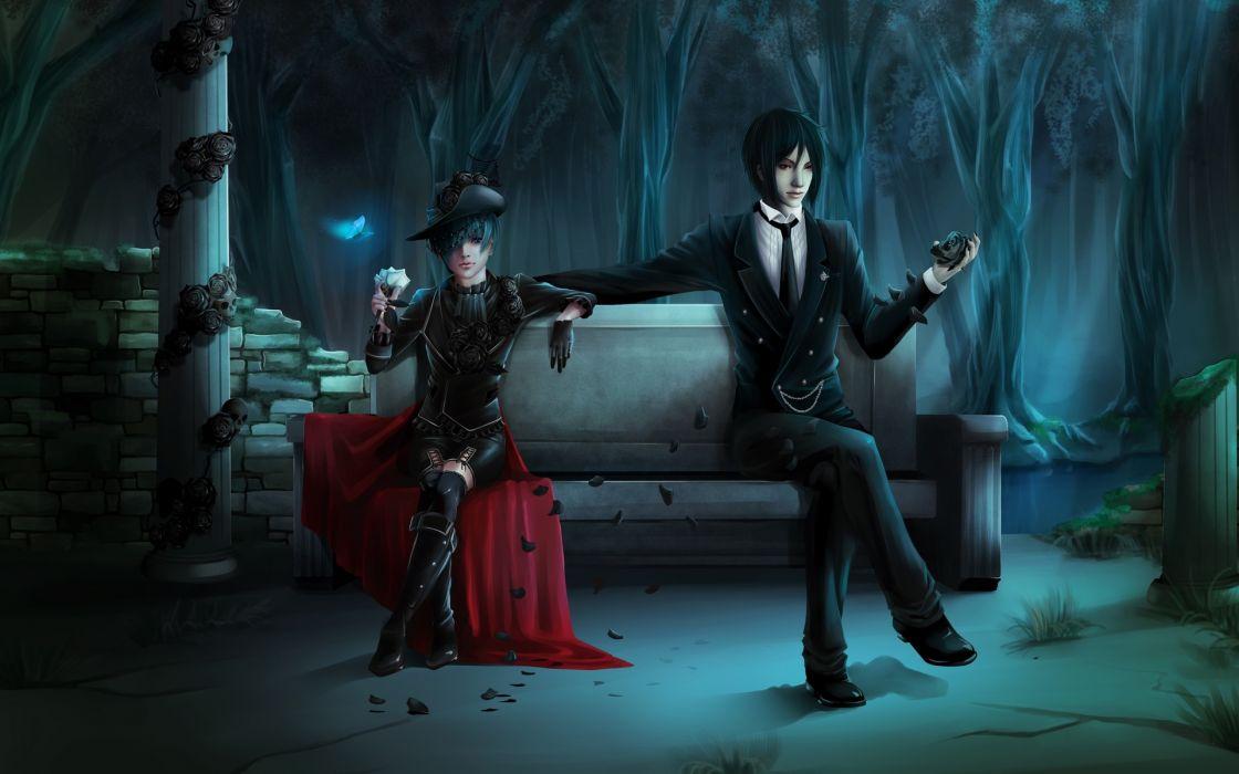 black butler sebastian michaelis Kuroshitsuji girl boys bench park dark gothic babes sexy trees petals wallpaper
