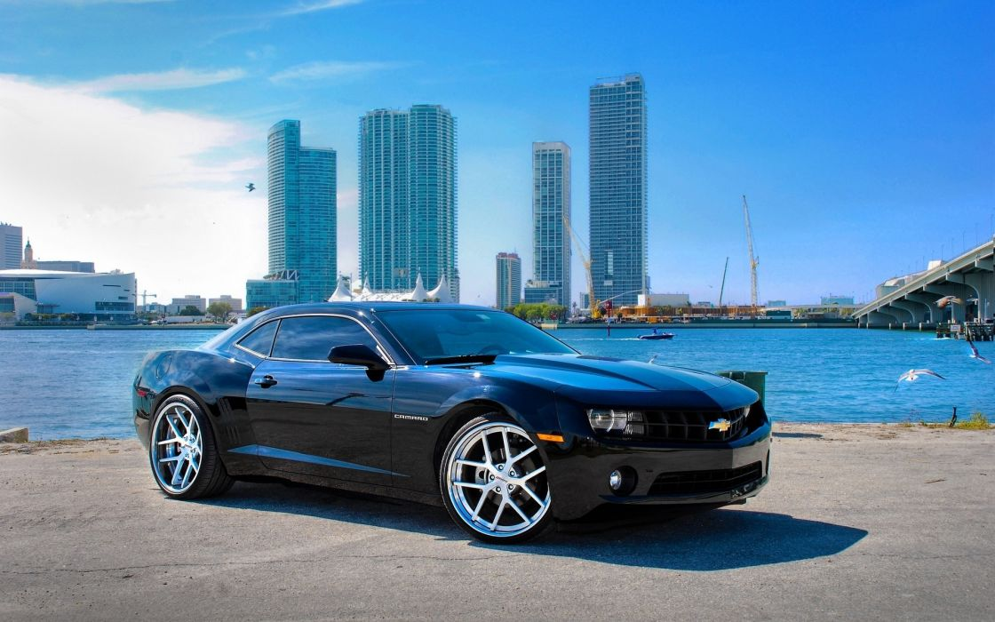 Chevrolet Camaro SS tuning muscle cars hot rods black architecture buildings skyscrapers wallpaper