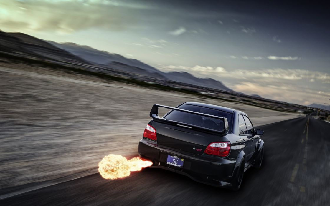 Subaru Impreza WRX STI tuning fire flames exhaust explosion roads racing landscapes wallpaper