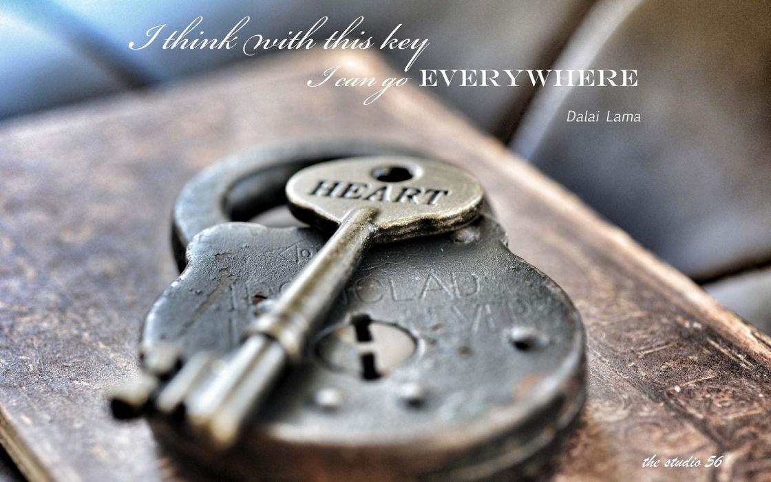 Lock Key Dalai Lama heart mood bokeh lock keys macro quotes statements motivation inspiration wallpaper