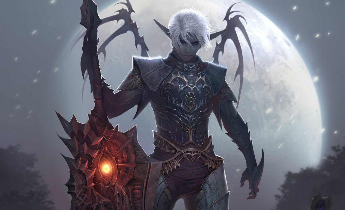 Lineage fantasy art warriors weapons mage dark wallpaper