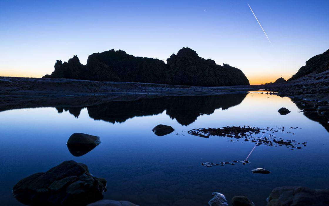reflection nature landscapes mountains lakes pond sunrise sunset sky contrail stone rock wallpaper