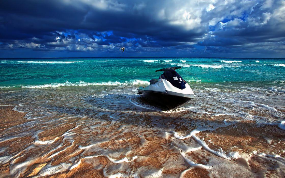 Seadoo ocean sea waves beaches sky clouds watercrafts boats sports ski wallpaper