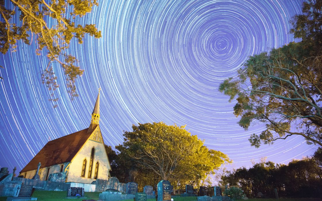 Stars Timelapse Building Night Cemetery Church Cathedral Tombstones Trees sky wallpaper
