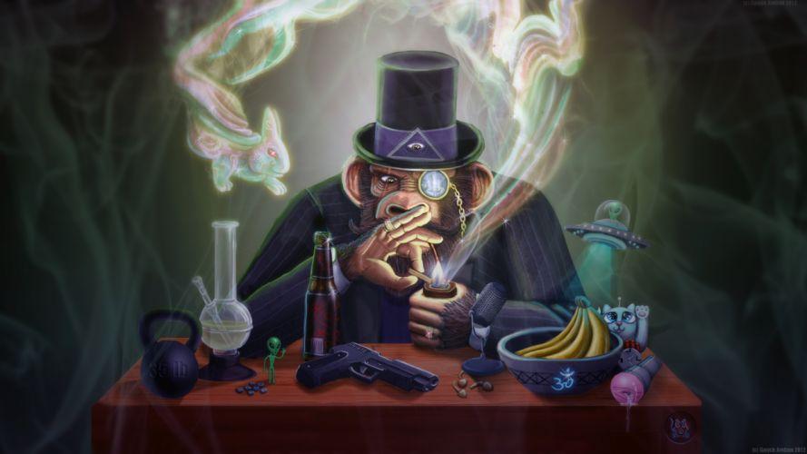 The Joe Rogan Experience Monkey Smoking Pipe Monocle Hat UFO WTF Bong Handgun psychedelic drugs beer cartoons 420 wallpaper