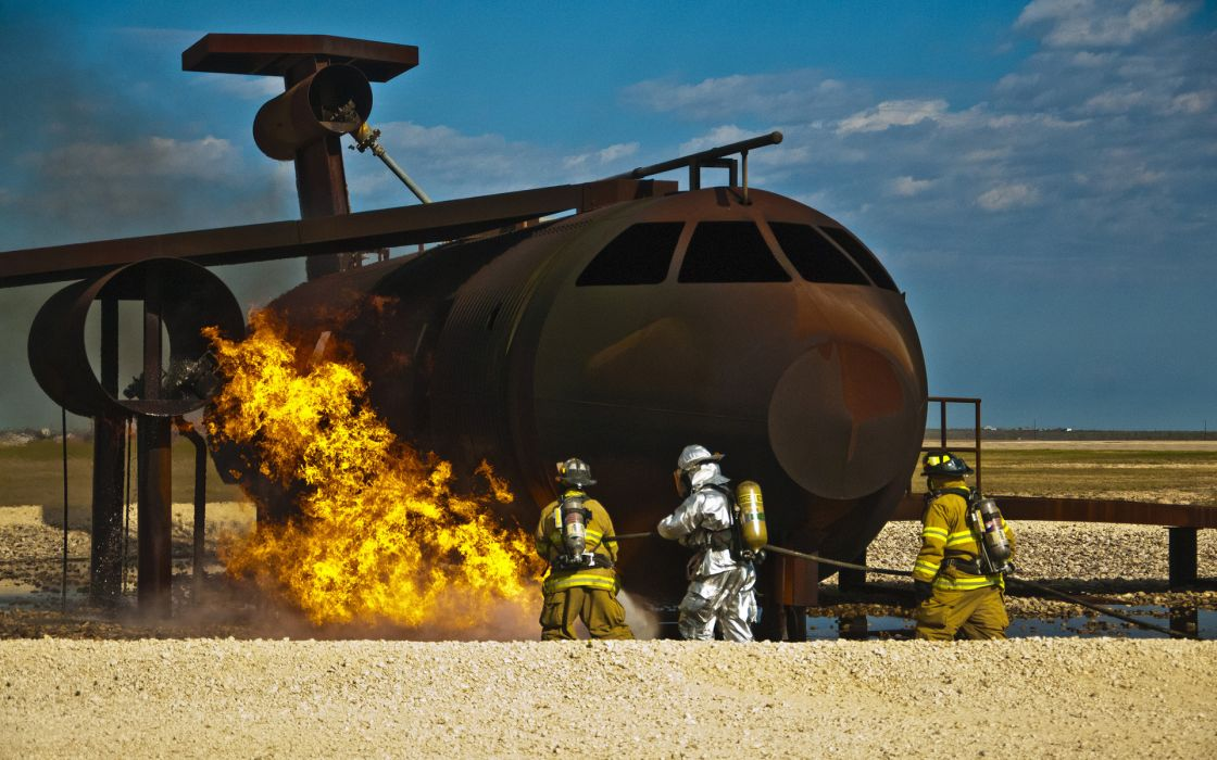 Training Firefighter Fire flames aircrafts airplanes people wallpaper