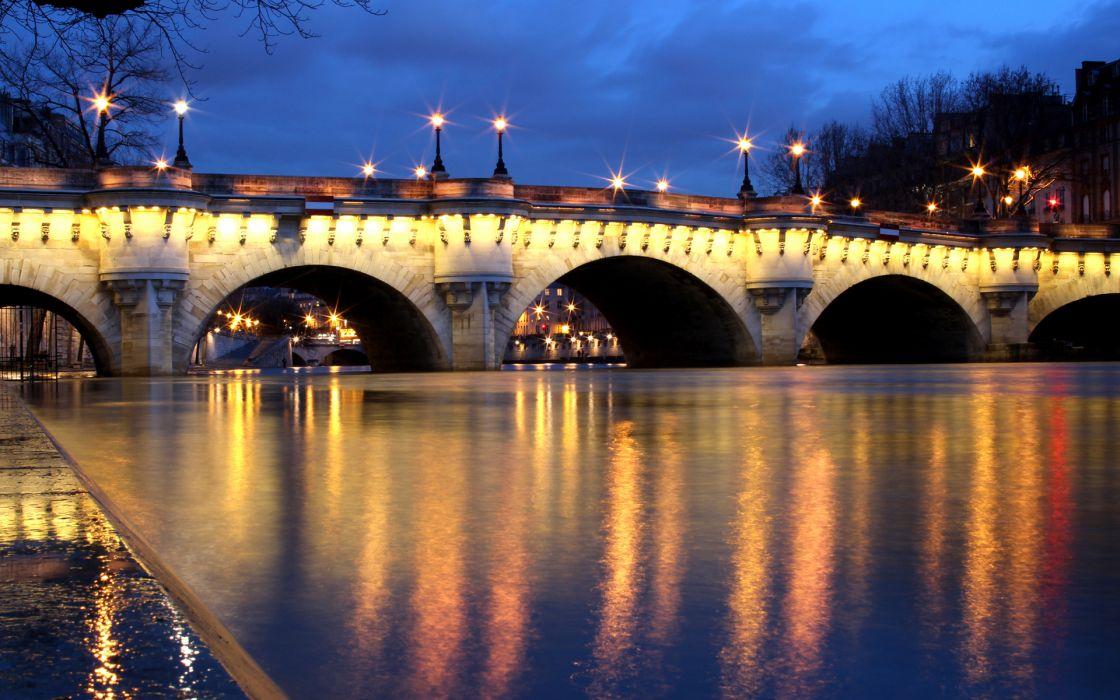 world architecture bridges lamp post lights rivers hdr sky rain wallpaper