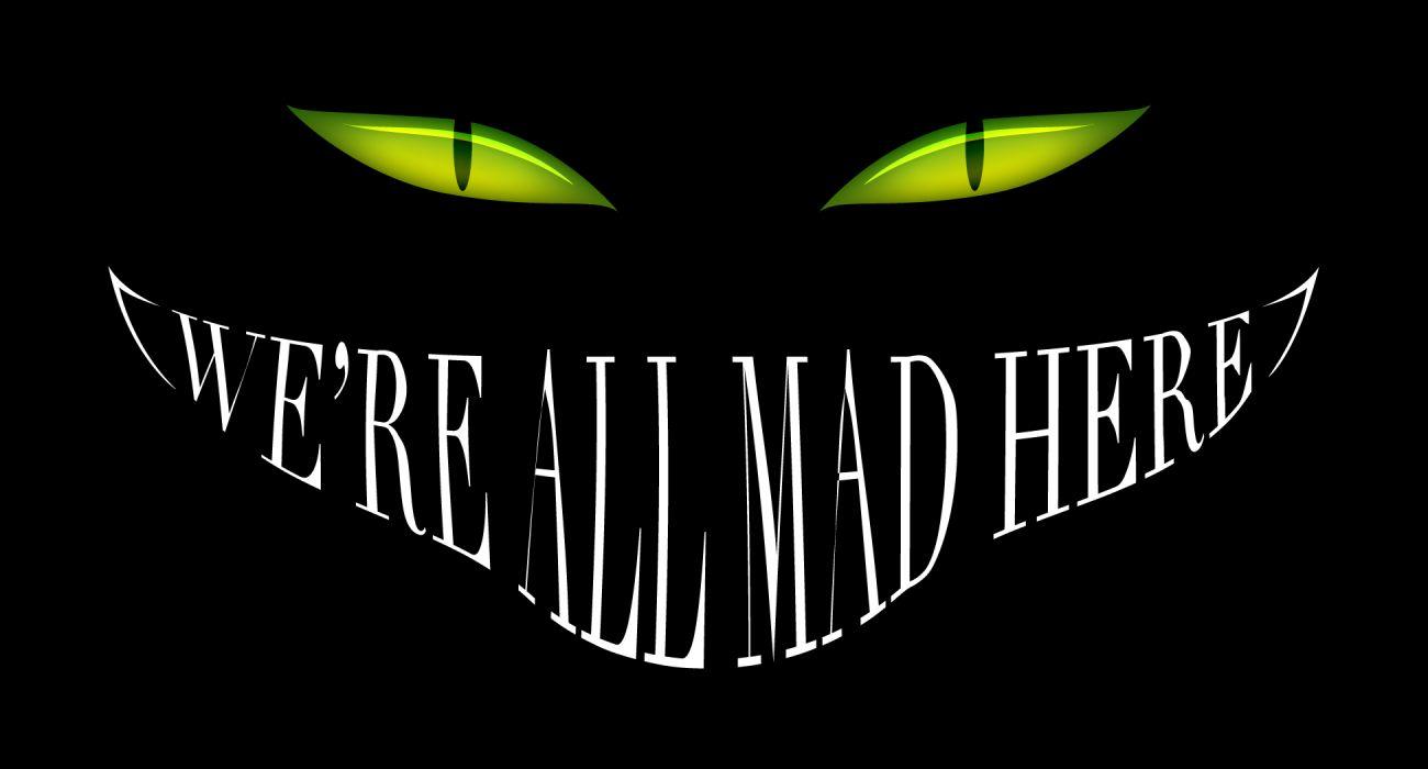 Alice in Wonderland Smile Cheshire Cat Black Mad Eyes dark halloween wallpaper