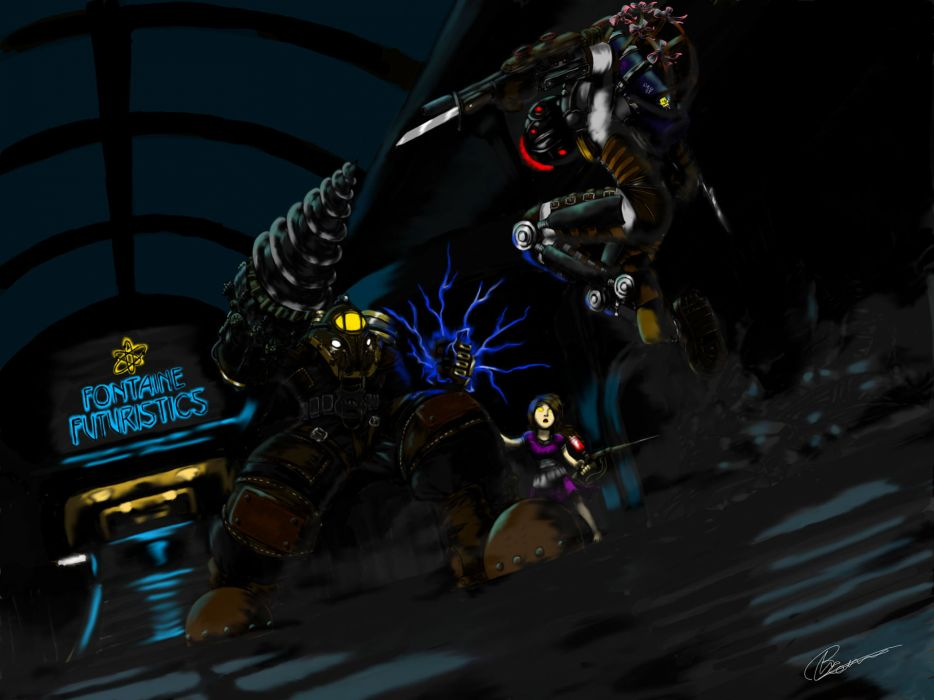 Bioshock Big Daddy Electricity Big Sister Little Sister Drawing Fight wallpaper