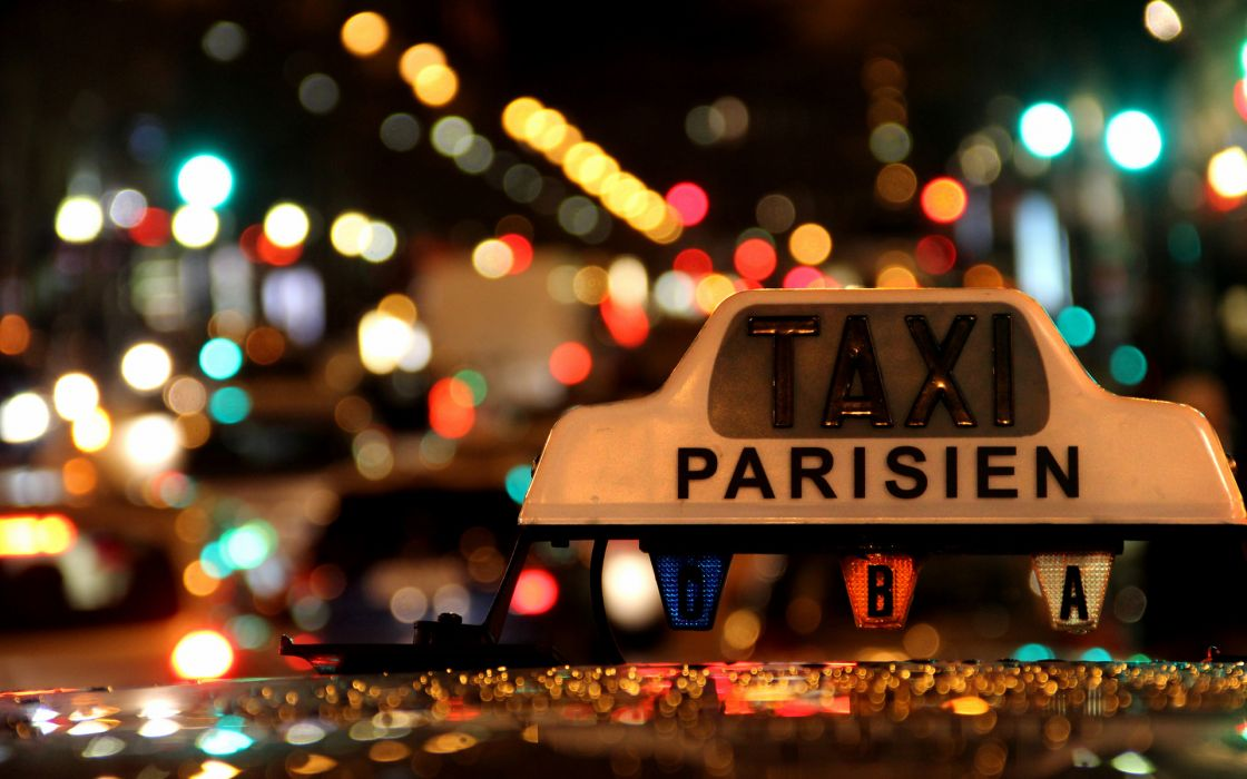 Bokeh taxi lights night roads traffic macro close sign text paris france wallpaper