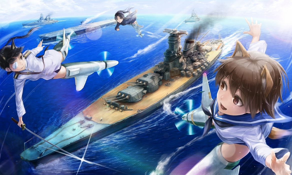 Strike Witches ears boat eyepatch gun hattori shizuka katana miyafuji yoshika sakamoto mio sword water weapon wallpaper