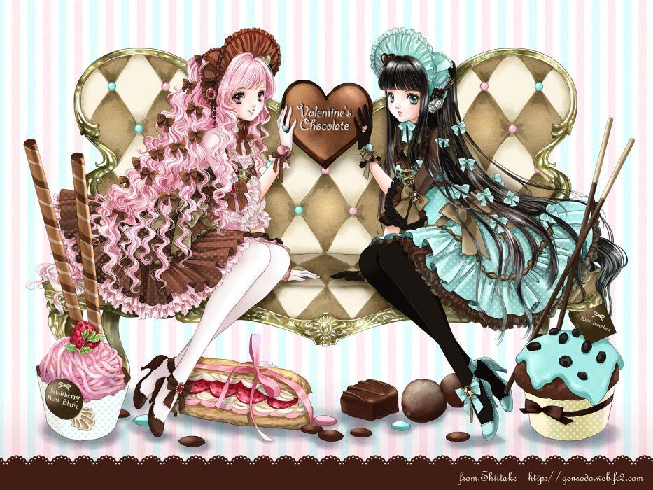 original anime valentine heart girl love romance wallpaper