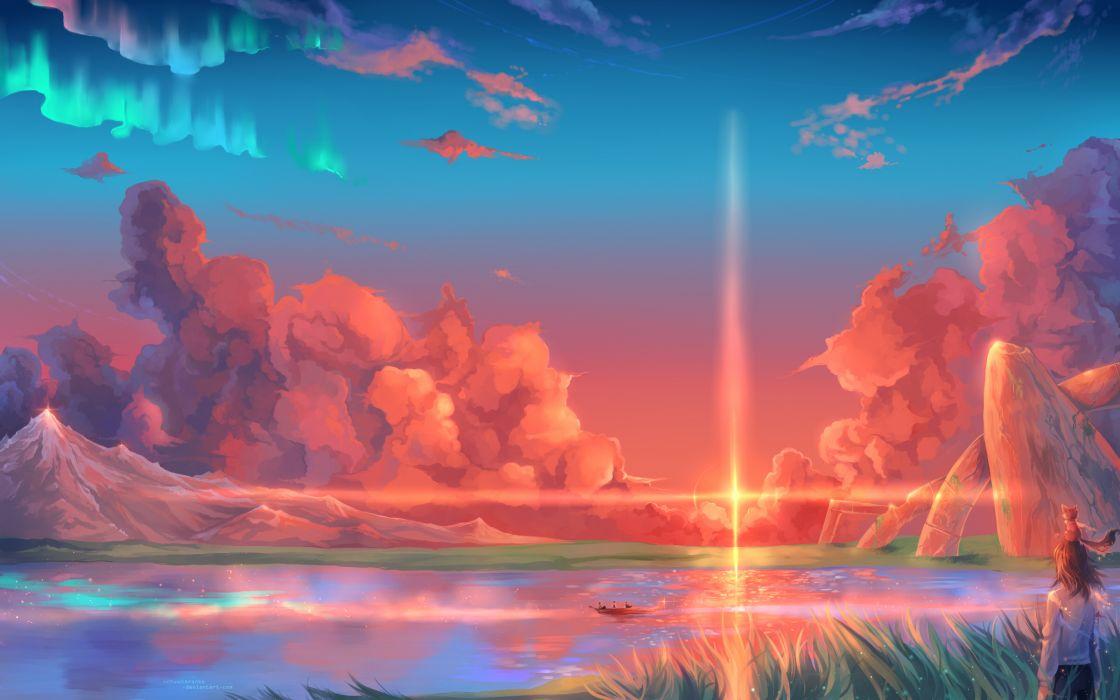 hoshi wo ou kodomo girl sunset sunrise wallpaper