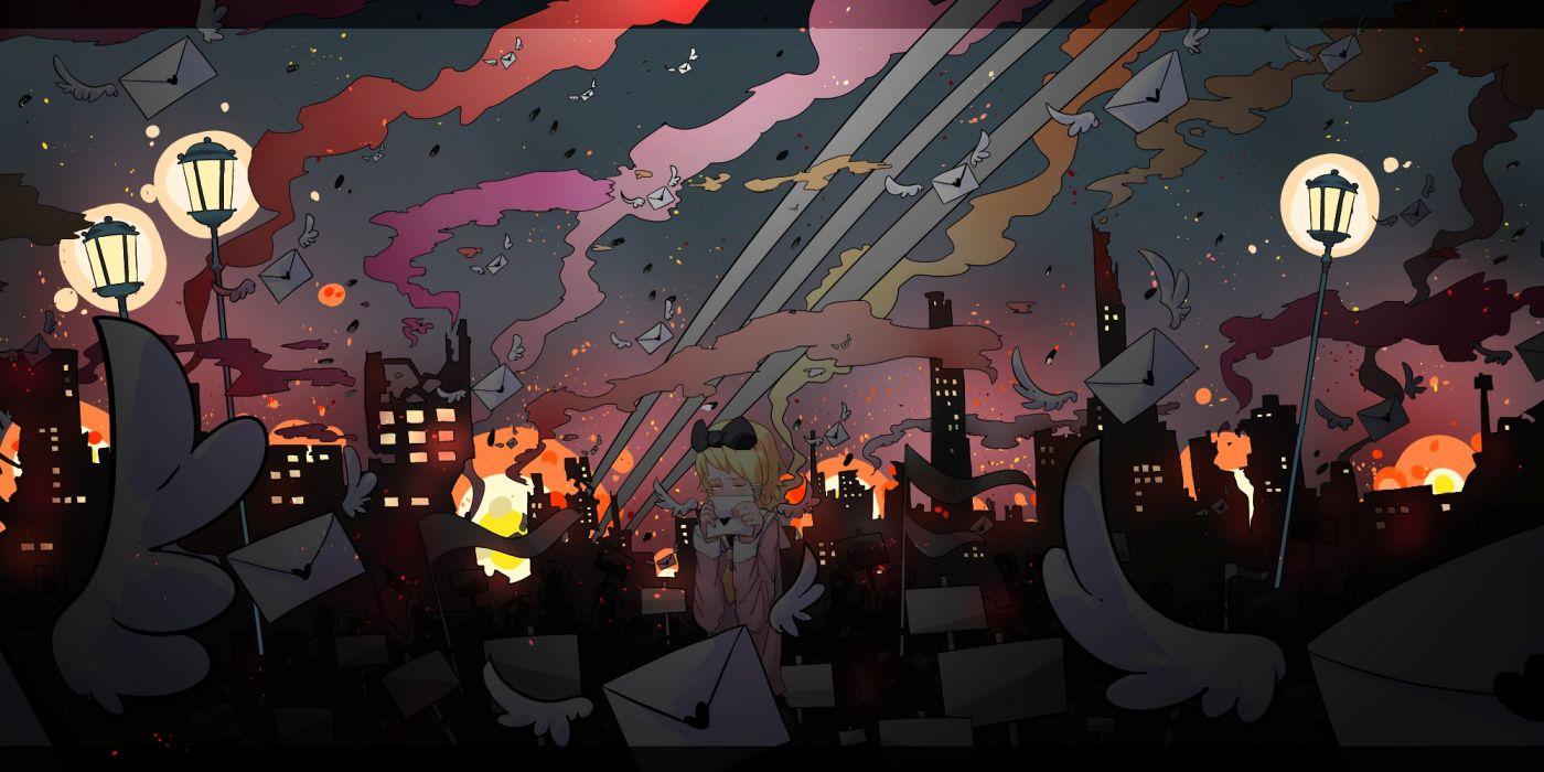 vocaloid kagamine rin girl dark cities mood love romance wallpaper