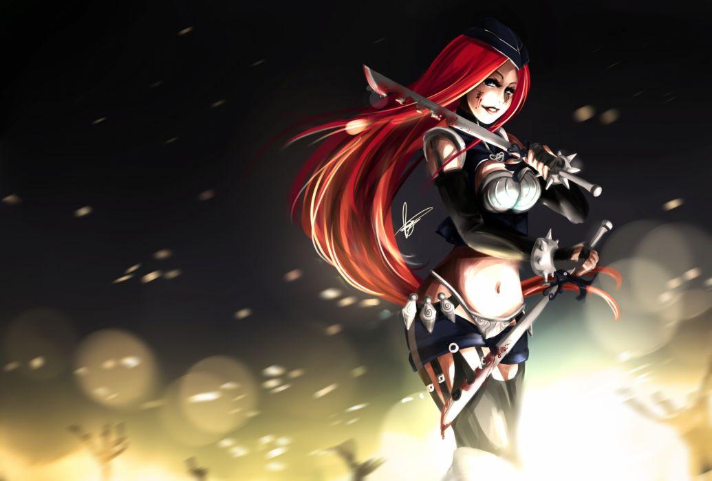 League of legends blood katarina weapon warrior dark fantasy wallpaper