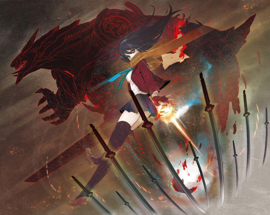 original anime girl weapons swords katana mecha demon monster creature warrior sexy babes wallpaper