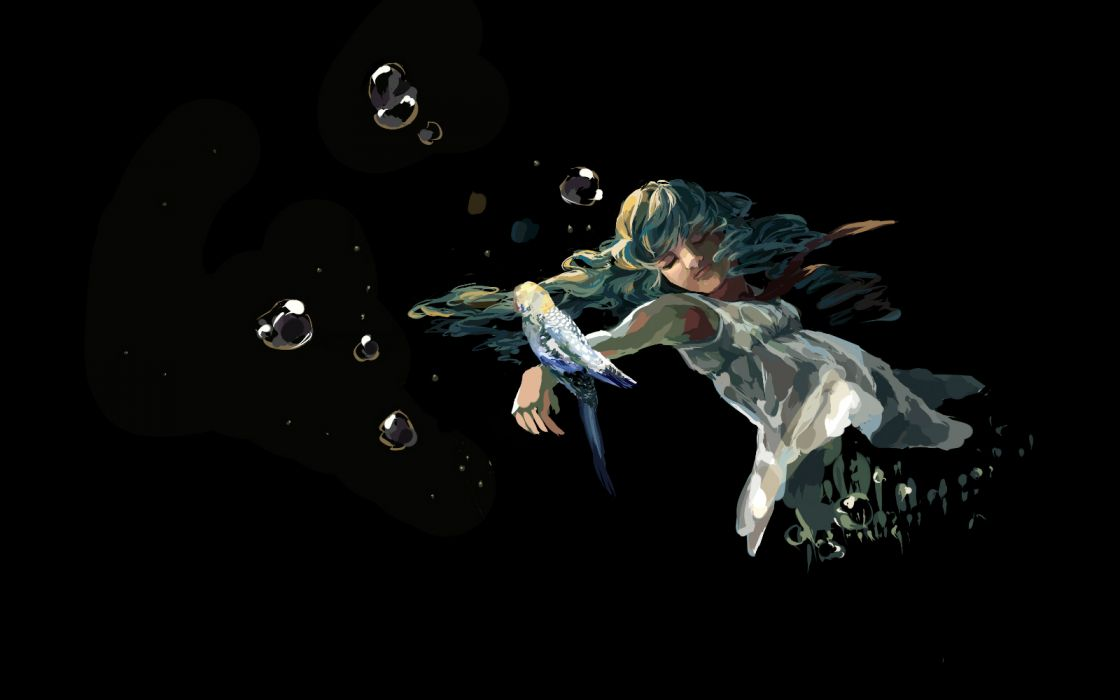 vocaloid bubbles girl underwater parrot bird dark mood wallpaper