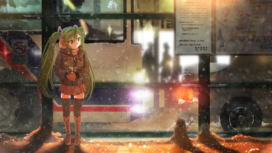 vocaloid girl winter snow wallpaper