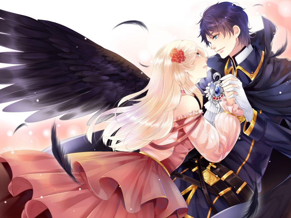 original anime love romance mood emotion angel boy girl wings wallpaper