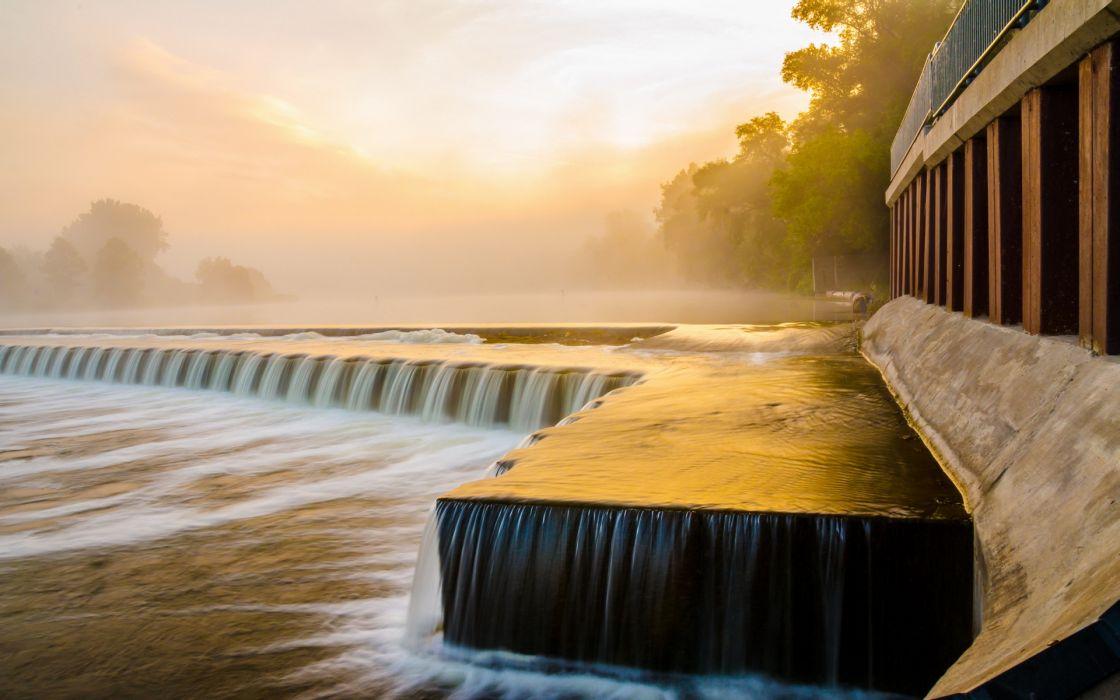 nature landscapes waterfalls rivers architecture fog sunrise wallpaper