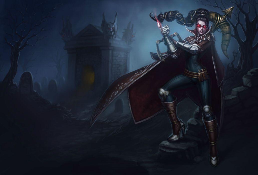 League of Legends Vayne dark fantasy warrior weapons wallpaper