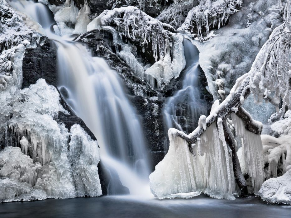 nature winter snow icicles ice frost waterfall water trees rocks frozen rivers wallpaper
