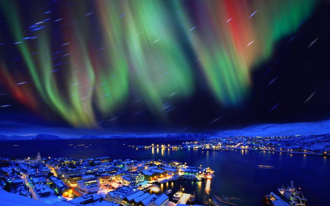aurora borealis hammerfest norway cities sky northern lights nights stars wallpaper