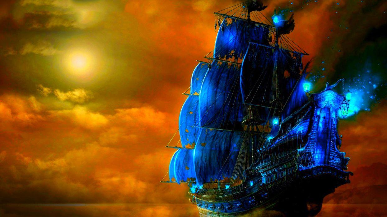 fantasy art ship boats ocean sea wallpaper