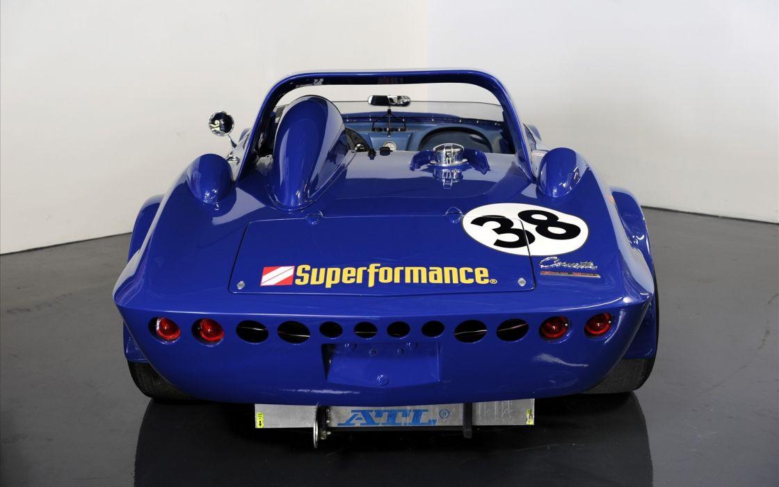1963 Corvette Grand Sport race car muscle hot rod chevrolet blue wallpaper