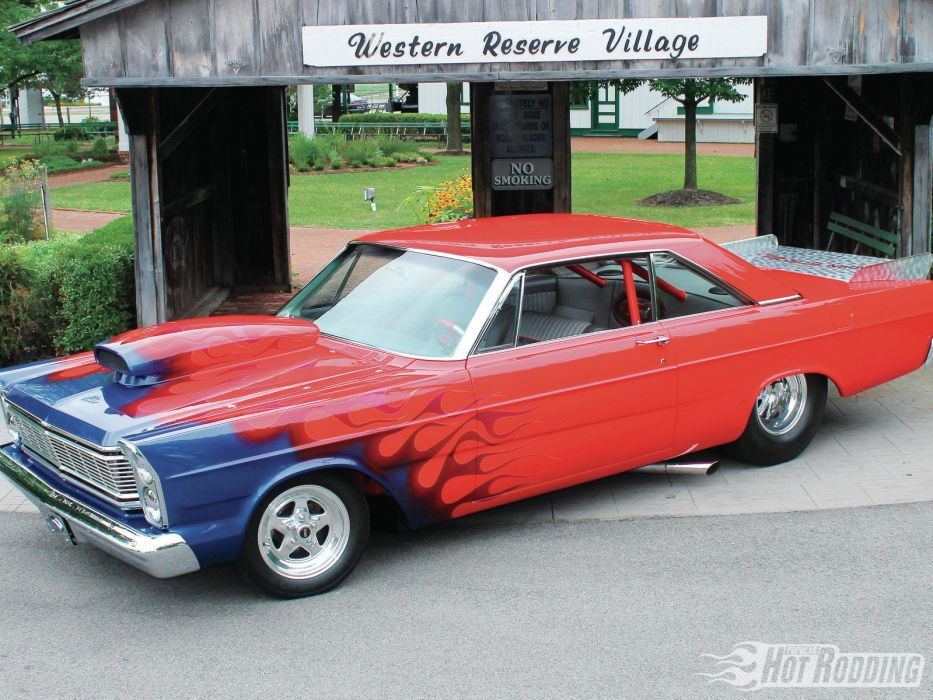 1965 Ford Galaxie 500 drag racing hot rods muscle car race red fire flames wallpaper