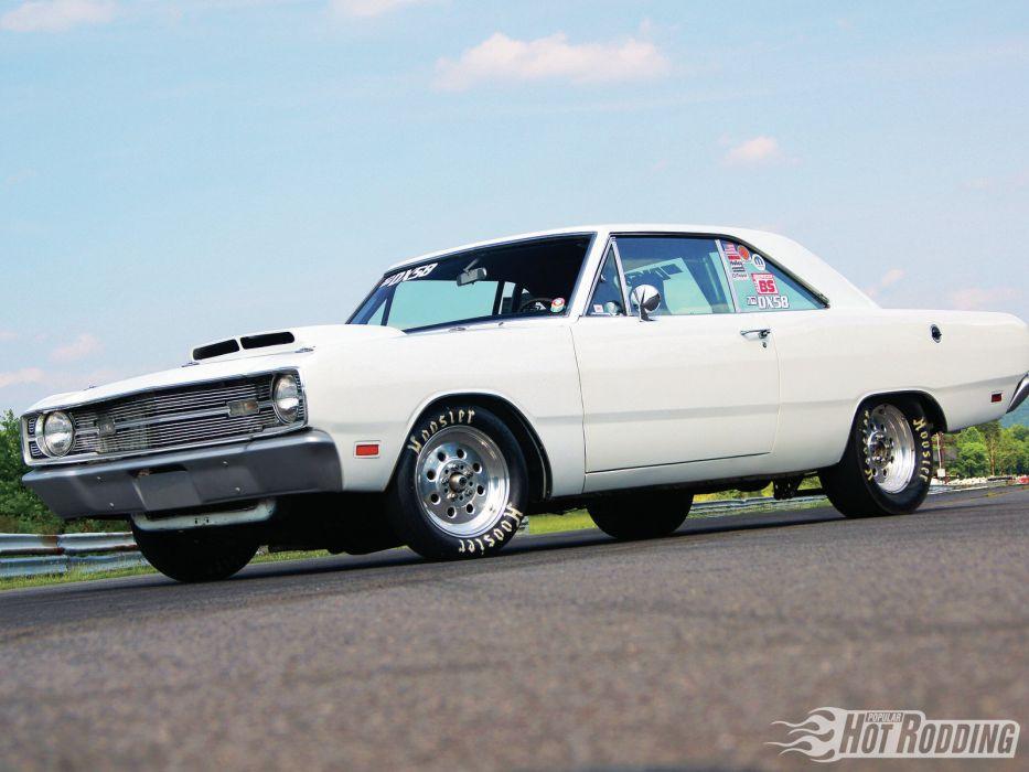1969 Dodge Dart Custom muscle cars hot rods drag racing race car white wallpaper
