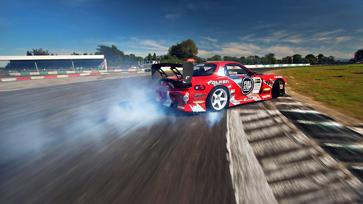 Mazda RX7 racing drifting track race tuning burnout smoke rubber wallpaper