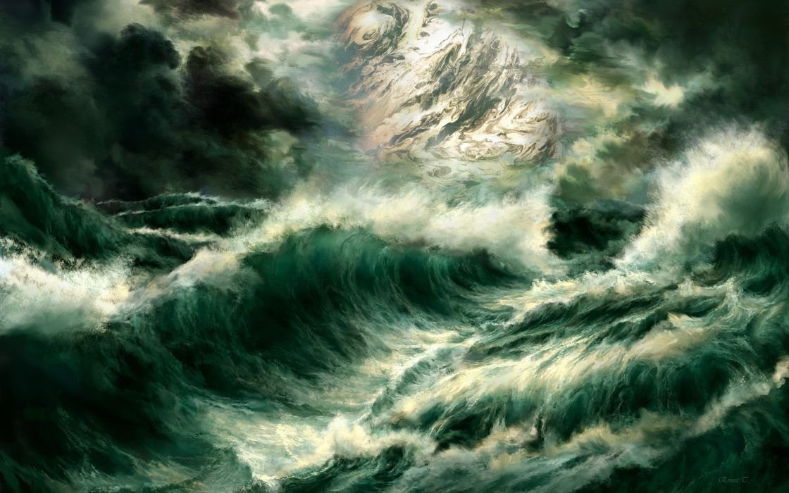 art paintings ocean sea seascape storm waves spray drops moon clouds wallpaper