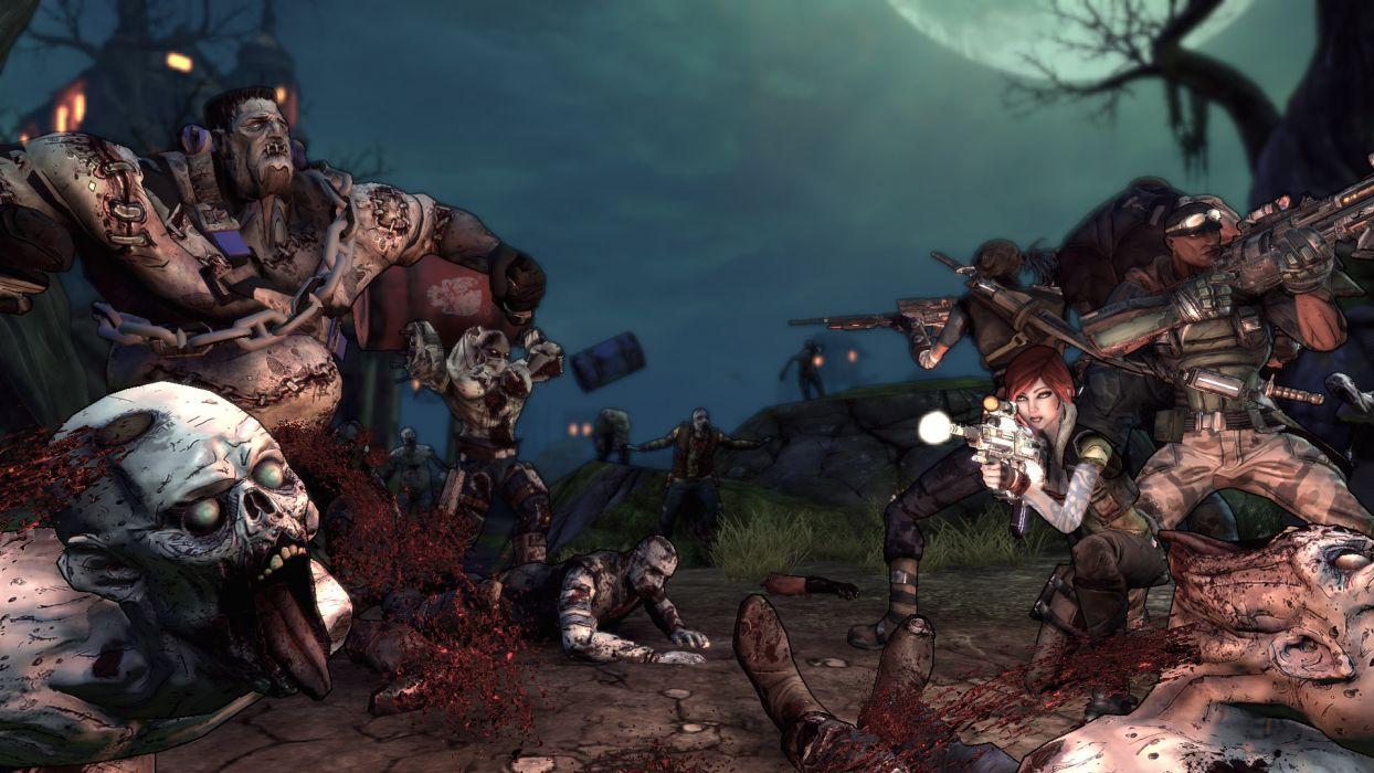Borderlands dark blood weapons guns zombies wallpaper