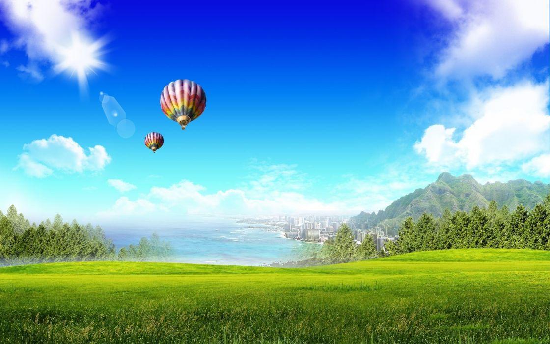 cg digital art vector manipulation landcapes dream mood grass nature ballons sailing flight sky clouds sunlight sun ocean sea architecture buildings mountains wallpaper
