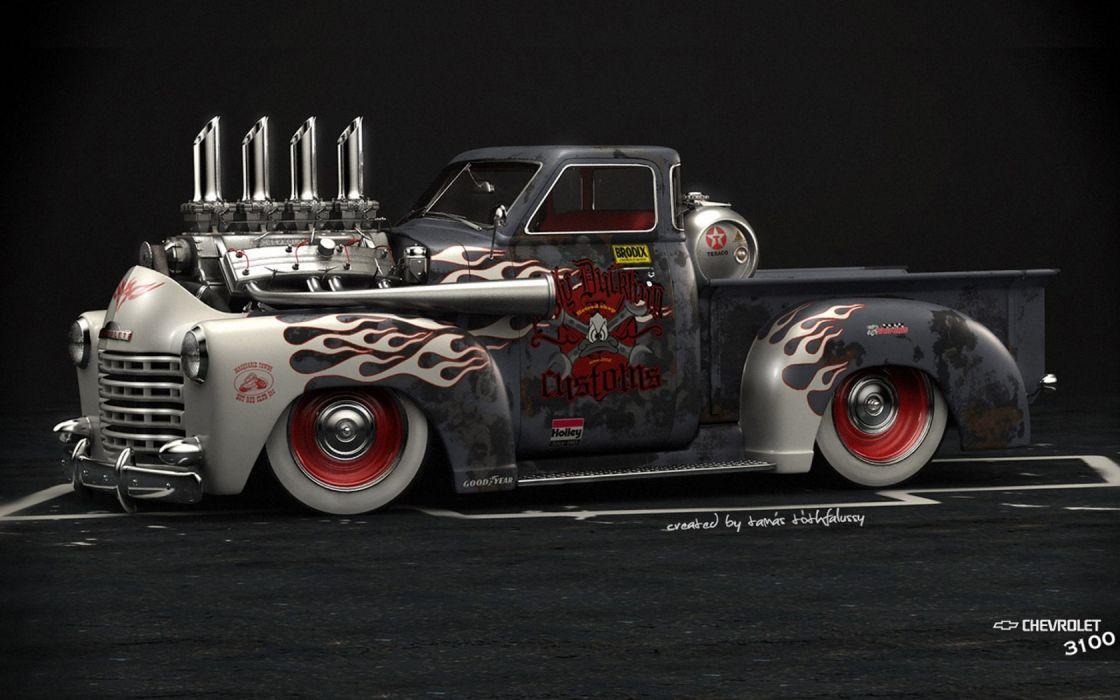 chevrolet 3100 hod rod trucks engines lowrider tuning wallpaper