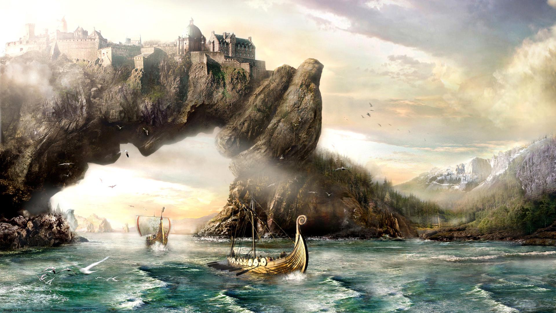 Fantasy Art Vikings Sailing Boats Ships Landscapes Paintings Mountains Wallpaper