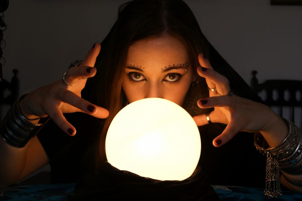 Fortune Teller witch occult crystal ball fantasy women females face wallpaper