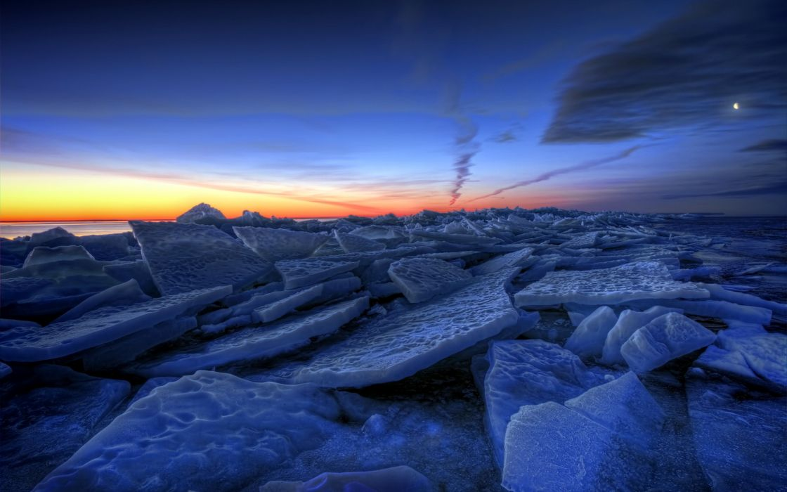 ice nature lakes frozen winter sky clouds sunrise sunset hdr wallpaper
