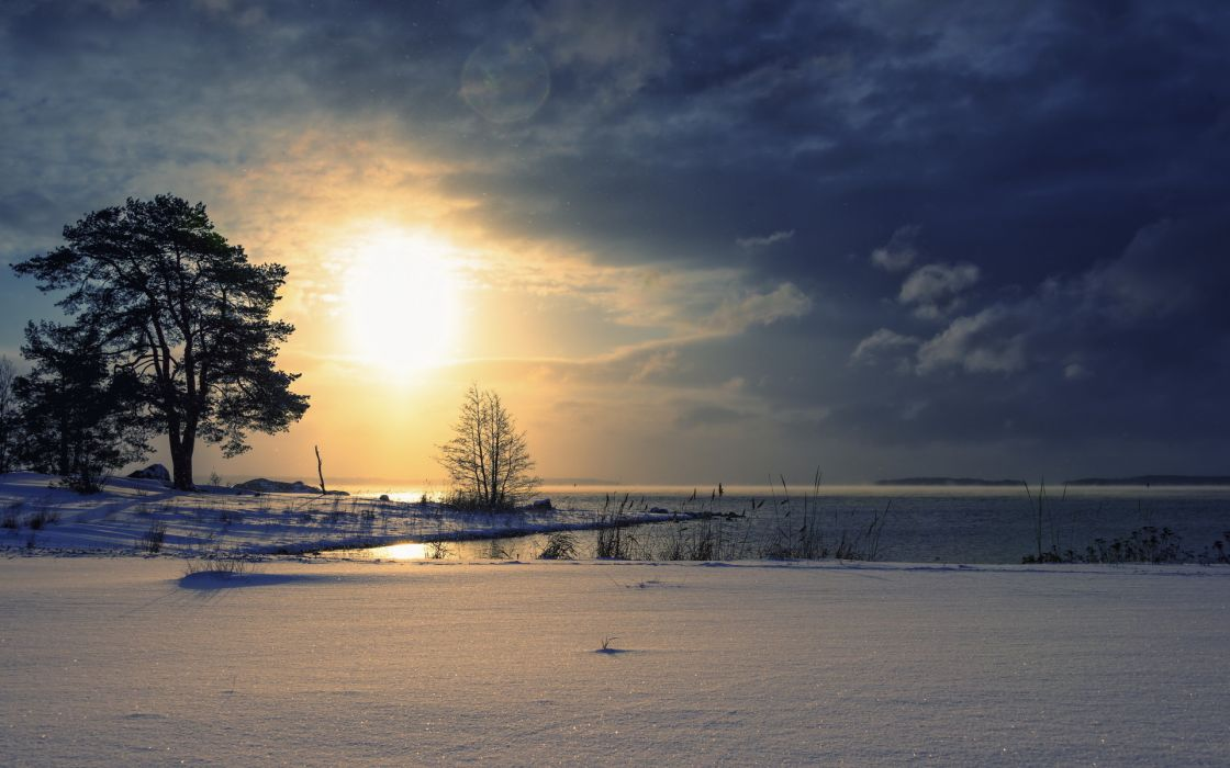 lakes nature landscapes snow trees reflection sky clouds sunrise sunset wallpaper